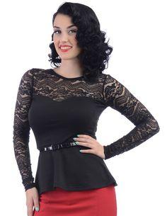 Black Rose Sheer Lace Long Sleeve Peplum Top with belt