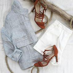 Promod Total Look Blazer Ref. 1-4-27-00-41-129 Short Ref. 1-4-23-01-57-021 Shoes Ref. 1-4-29-02-69-026 #PromodBoutiqueFrançaise #SS2016 #Summer