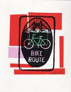 Bike Route Linocut Eric Rewitzer Street Art, 3 Fish, Art Graphique, Studios, Bike, Artists, Artwork, Contemporary Photography, Old Photography