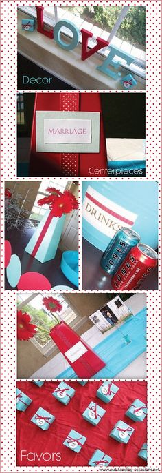 Red and Tiffany blue