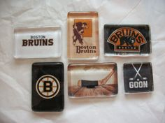 6 Boston Bruins NHL Hockey Glass Magnets by BadCatCraft on Etsy