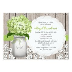 Pink Hydrangea Monogrammed Mason Jar Bridal Shower X Invitation Card. Range of hydrangea colours available, so you're sure to find the perfect shade for you! Mason Jar Wedding Invitations, Summer Wedding Invitations, Wedding Invitation Design, Invites, Party Invitations, Floral Invitation, Invitation Ideas, Wedding Stationary, Invitation Cards