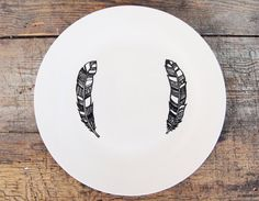 Twin Feather Plate  Hand Illustrated black and by Gx2homegrown