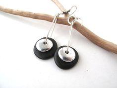 Beach Rock Jewelry Pebble Earrings SILVER SHINE by StoneAlone