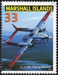 USAF FAIRCHILD C-119/C-119C FLYING BOXCAR Transport Aircraft Stamp (2000) in Stamps, Thematics, Transport, Aviation | eBay