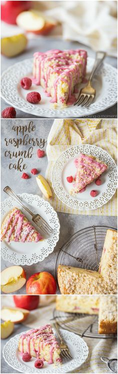 Apple Raspberry Crumb Cake:  perfectly light, moist, and buttery, with a hint of sweetness from the fruit and a lemony crumb topping.  We made this for Mother's Day and it was a big hit!  food desserts breakfast #ad @stemilt