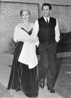 """mrglennford: """"Glenn Ford and Eleanor Parker take a break from filming their movie Interrupted Melody to head to the MGM commissary to grab lunch, """" Hooray For Hollywood, Golden Age Of Hollywood, Vintage Hollywood, Hollywood Glamour, Hollywood Stars, Classic Hollywood, Hollywood Actor, Hollywood Actresses, John Payne Actor"""