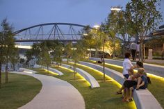 Contemporary Bench, Landscape Design, River Quay on South Bank in Parklands, Brisbane by Cardno s.p.l.a.t. & Arkhefield