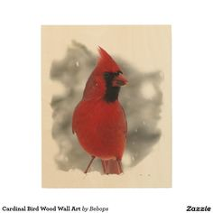 Cardinal Bird Wood Wall Art