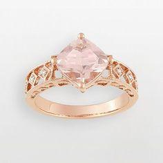 kohls 10k Rose Gold Morganite & Diamond Accent Filigree Ring