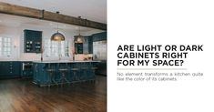 The color of your cabinets can transform the look of your kitchen. Whether you're looking or trendy and modern or a classic and timeless design, there are many things to consider when deciding on colors. Check out our blog post to see if light or dark cabinetry is right for you. #KitchenDesign #KitchenCabinetry #TimelessKitchenDesign #ModernKitchenDesign