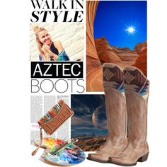 Ariat Women's Caldera Aztec Pointed Toe Tan Cowgirl Boots by bootdaddy on Polyvore featuring Ariat, Blazin Roxx, Aztec, Boots, western, cowboyboots and cowgirlboots