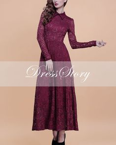Long Sleeved Red Lace Maxi Dress with Shirt Collar  by DressStory, $139.99. Going to buy this one day.