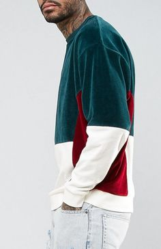 ASOS Oversized Velour Cut & Sew Sweatshirt In Green from ASOS (men, style, fashion, clothing, shopping, recommendations, stylish, menswear, male, streetstyle, inspo, outfit, fall, winter, spring, summer, personal)