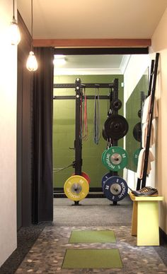 - Design-Build Fitness Studio contemporary home gym Crossfit Garage Gym, Home Gym Garage, Crossfit At Home, At Home Gym, Crossfit Wods, Home Gym Design, House Design, Vancouver, Gym Setup