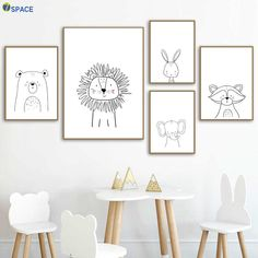 Löwe Kaninchen Bär Waschbär Wandkunst Leinwand Malerei Nordic Poster Und Drucke Kinderzimmer … Lion rabbit bear raccoon wall art canvas painting nordic posters and prints kids room wall pictures for baby girls boys room decor Kids Wall Decor, Kids Room Wall Art, Boys Room Decor, Nursery Wall Decor, Nursery Prints, Baby Decor, Nursery Artwork, Safari Nursery, Nursery Canvas
