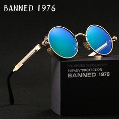 e186796dfe668 HD polarized round metal sunglasses for Men vintage gafas de sol metal  GOGGLES with box