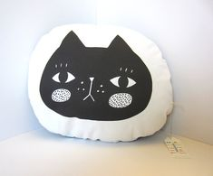 Pout face Black Cat pillow by Tigersheepfriends on Etsy