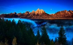 Snake River moonscape at sunrise Grand Tetons National Park, Wyoming  The most peaceful,  reflective place to hike,  camp and enjoy.