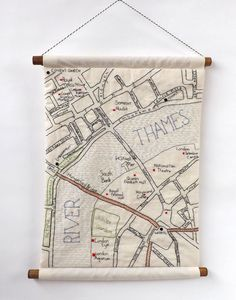 South Bank London Embroidered Map Wall by StitchCity