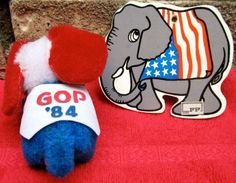 Elephants political election GOP 1980's soft figures. $4.00, via Etsy.