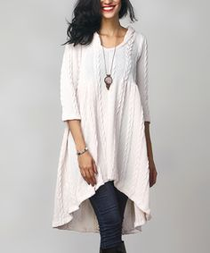 Look at this #zulilyfind! Winter White Cable Knit Hi-Low Hooded Tunic by Reborn Collection #zulilyfinds