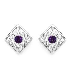 Edle Design 0,20 Carat Amethyst Ohrstecker, Ohrring, 925 Silber Design pur