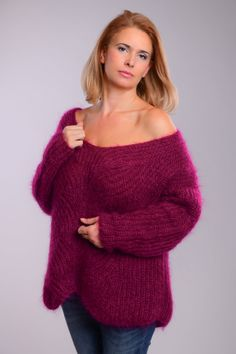 Off Shoulder Mohair Sweater Pull Slouchy Pull Ribbed Pull Cardigan Long, Cable Knit Jumper, Angora Sweater, Hand Knitted Sweaters, Ribbed Sweater, Summer Sweaters, Girls Sweaters, Red Sweaters, Cardigans For Women