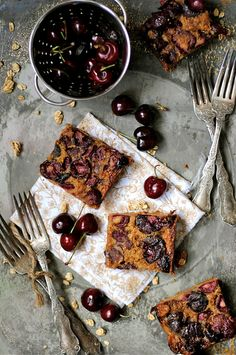 How To: Simplify: Cherry Brown Butter Bars Just Desserts, Delicious Desserts, Dessert Recipes, Yummy Food, Oats Recipes, Rice Recipes, Beef Recipes, Breakfast Recipes, Chicken Recipes