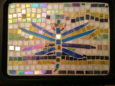 Dragonfly Tray, Mosaic Art, Housewarming,  Serving, Home Decor, Gold, Purple, For Her, Wedding Gift
