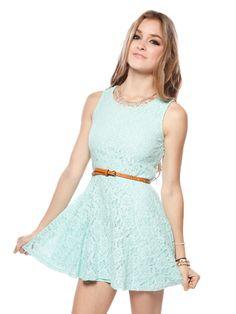 Belted mint dress.