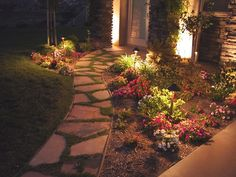 Lighted walkway - not just on sidewalk but also by door and in front garden