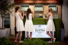 Bloom Gin Pop-Up Bar – London Promo girls at bar Bloom Gin, London Gin, Promo Girls, Pop Up Bar, Exhibition Booth, Paris Hotels, Stand Design, Trade Show, White Dress