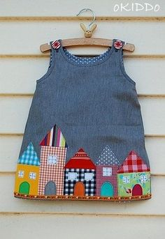 Toddler Girl's Aline Dress in Grey with Houses Appliques... Baby Dress