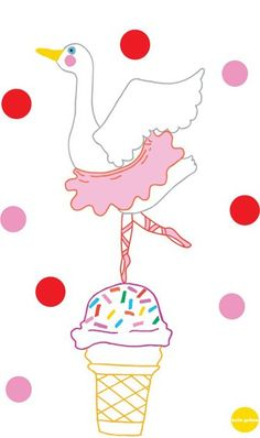 Hello Yellow Ballerina Goose A4 Digital Print    Exclusive to Childrens Dept...    Introducing Edwina the Ballerina Goose in her pretty pink tutu dancing atop a delicious ice-cream cone!    This original design by Australian designers Hello Yellow is digitally printed on 300gsm paper using high quality inks. available at www.childrensdept.com.au
