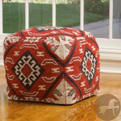 Christopher Knight Mayan Red Wool Pouf Ottoman | Overstock.com