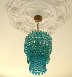 turquoise chandelier - take color to the ceiling