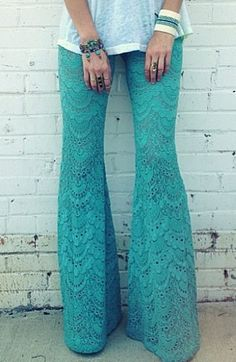 Lacy, turquoise bell bottoms? So boho.