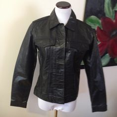 New GAP leather jacket Levi's style coat M It is new without tags, never worn. Velcro closure and simple style for a forever classic look! Size medium. Smoke free home! GAP Jackets & Coats Jean Jackets