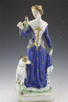 Antique German Porcelain Lady Marguerite de Lorraine with Parrot Dog Figurine | eBay
