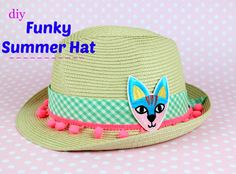 Diy Funky Summer Hat!!! The procedure is really easy. The only thing you need is imagination and 5 minutes of your time!   #diy #craft #fashion #upcycle #hat #Summertime #Summer #trendy #beach