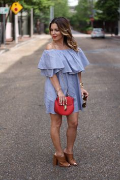 Ruffle Dress • spring style off the shoulder
