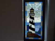 Framed Stained Glass Mosaic Lighthouse by TamiAndDani on Etsy