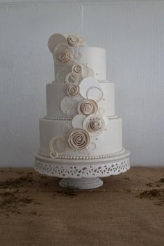 White Wedding Cake with Swirl Design from House of Clarendon in Lancaster PA