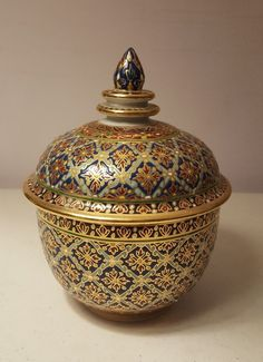 "Stylish Modern Benjarong Lidded Jar 5"" tall Thai Porcelain Modern"