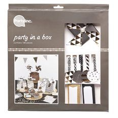 Party Inc Party in a Box Black and Gold 108 Pack