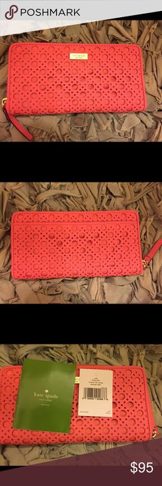 Kate Spade Newbury Lane, zipper pink wallet NWT Perfect condition and gorgeous! Zipper with 4 compartments and change area. Kate Spade Bags Wallets