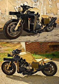 Zombies, tough humans, vampires, cosmic supervillains watch out. Garrett larson and his buddy dillon shoffner of show stoppers studio, llc took a 1984 goldwing bike and loaded it up with twin gatling guns.