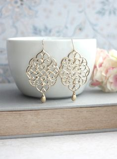Large Gold Moroccan Filigree Chandelier Drop Dangle door Marolsha, $21.90