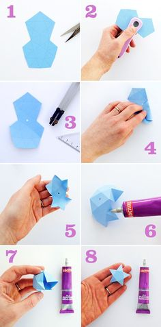 Cut + fold paper stars This post is sponsored by The Loctite Repair Network I love these stars. I wanted to do a cut-and-fold version of origami lucky stars. You can make them in different sizes and you can hang them on yours Christmas tree … Diy Origami, Origami And Kirigami, Origami Paper, Diy Paper, Paper Crafting, Oragami, Origami Boxes, Dollar Origami, Origami Ball
